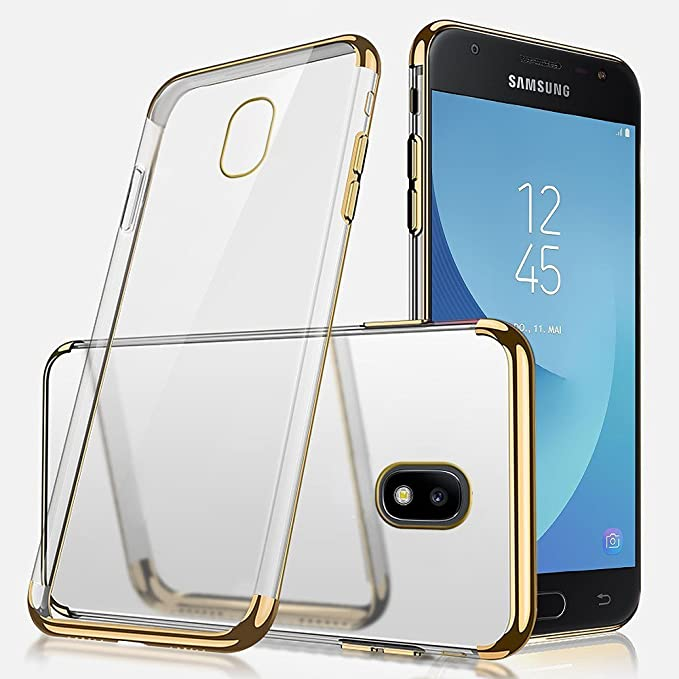 PHEZEN Galaxy J3 Pro 2017 Case, Ultra Slim Crystal Clear TPU Rubber Case with Electroplate Plating Frame Anti-Scratch Transparent Silicone Soft Gel ...
