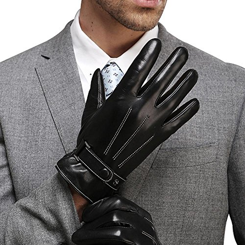 Harrms Best Luxury Touchscreen Italian Nappa Leather Gloves for men's Texting Driving Cashmere Lining (L-8.9