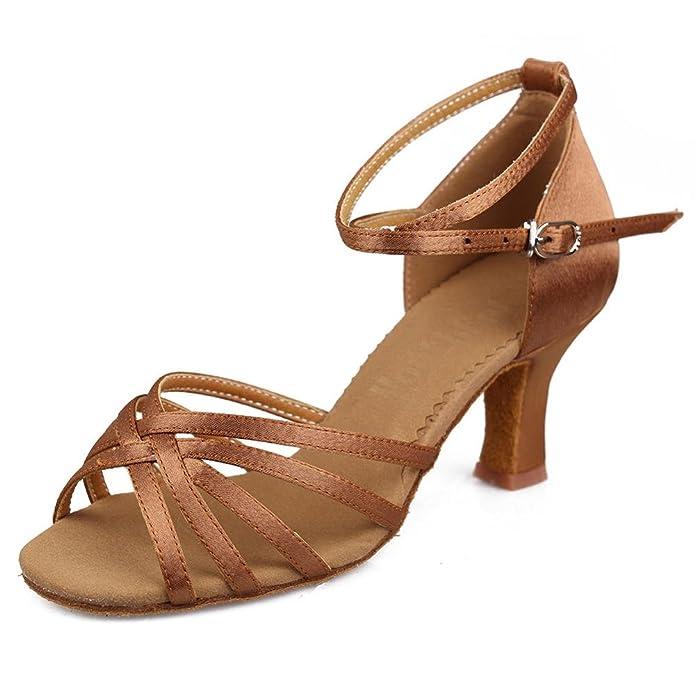 YFF Latin Dance Schuhe Satin professionelle Ballroom Tango Schuhe dünnen Absätzen Salsa, 7 cm Beige, 8,5