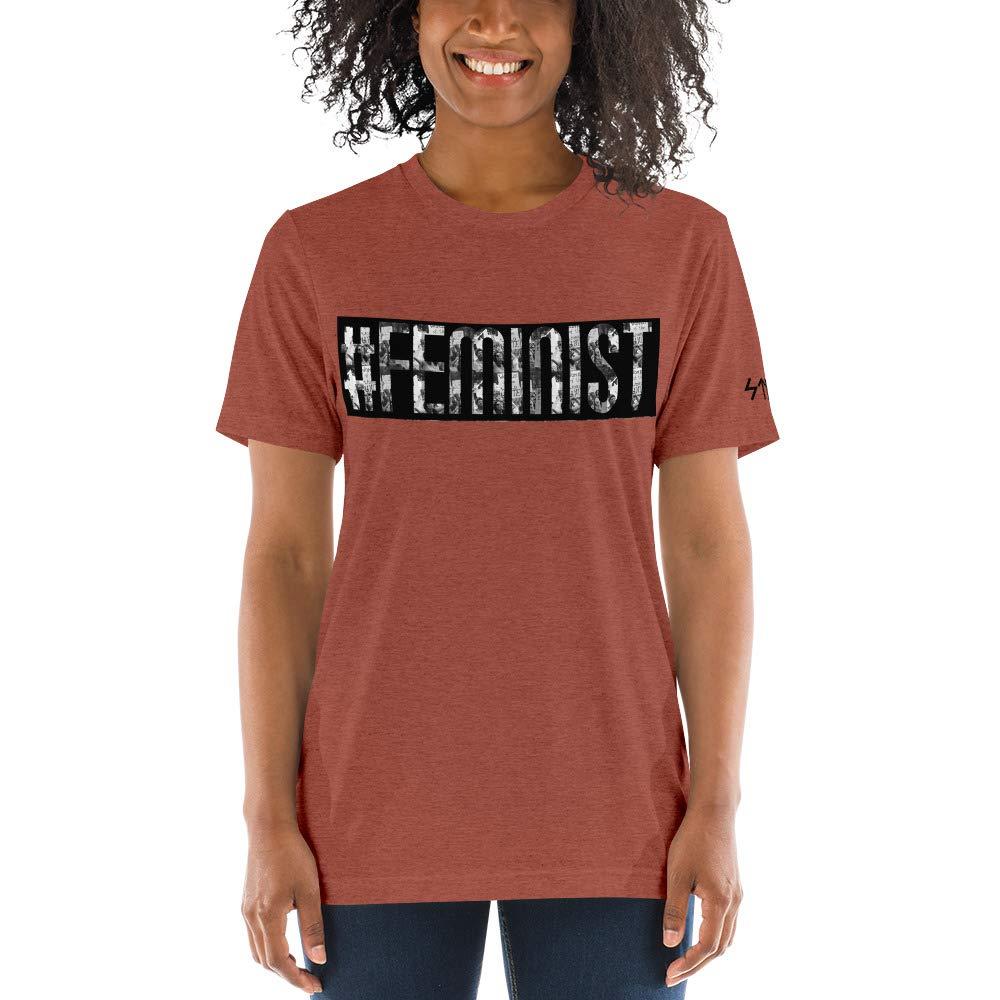 Womens Tri-Blend Short Sleeve t-Shirt #Feminist Image Letters