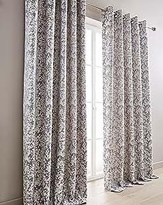 """Floral Gris Lila Crema 65"""" X 90"""" con Ollados Curtains & 2X Fundas Cojín"""