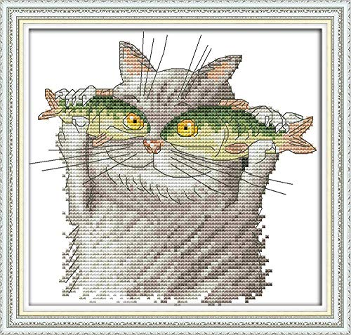 (Cross Stitch Kit, Stamped Needlepoint Kits with Pre-Printed Patterns for Kids Adults 14CT Embroidery Needlepoint Starter Kits Home Decor Cat Love Fish)