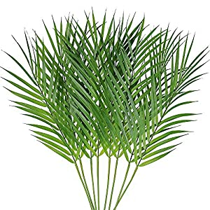 Supla 8 Pcs Artificial Areca Palm Leaves Stems Faux Palm Leaf Greenery Tropical Palm Tree Leaves Plants Faux Monstera Leaves for Palm Sunday Floral Arrangement Hawaiian Luau Jungle Beach Wedding Party 105