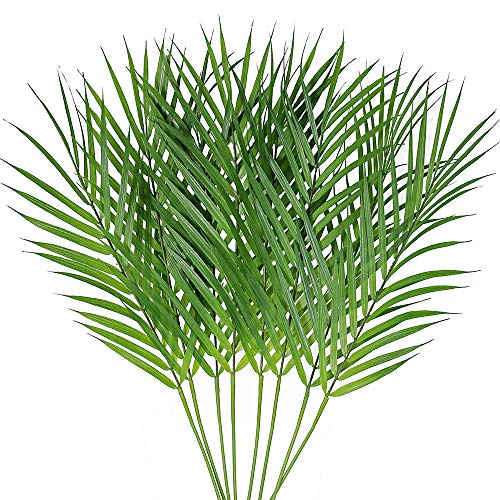 Supla 8 Pcs Artificial Areca Palm Leaves Stems Faux Palm Leaf Greenery Tropical Palm Tree Leaves Plants Faux Monstera Leaves for Palm Sunday Floral Arrangement Hawaiian Luau Jungle Beach Wedding Party