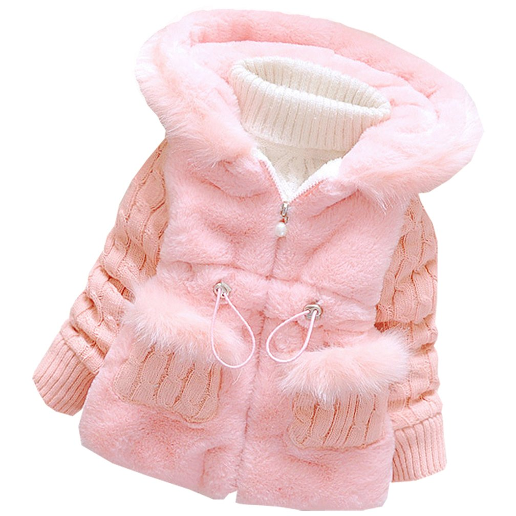 DORAMI Baby Girls Winter Autumn Cotton Warm Cotton Jacket Coat (1T, Pink)
