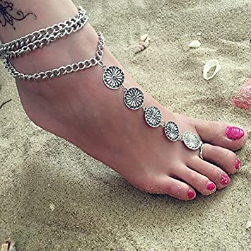 aece93c2c7029 Chicer Vintage Bracelet Anklet Foot Chain with Toe Ring Jewelry ...