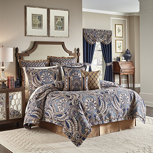 Croscill Queen Size Comforter - CROSCILL Aurelio 4 Piece Queen Comforter Set, Blue,
