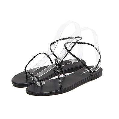 8a654fc00 Novel Harp Women Flat Dressy Sandals Sexy Buckle Beach Flip Flops Black