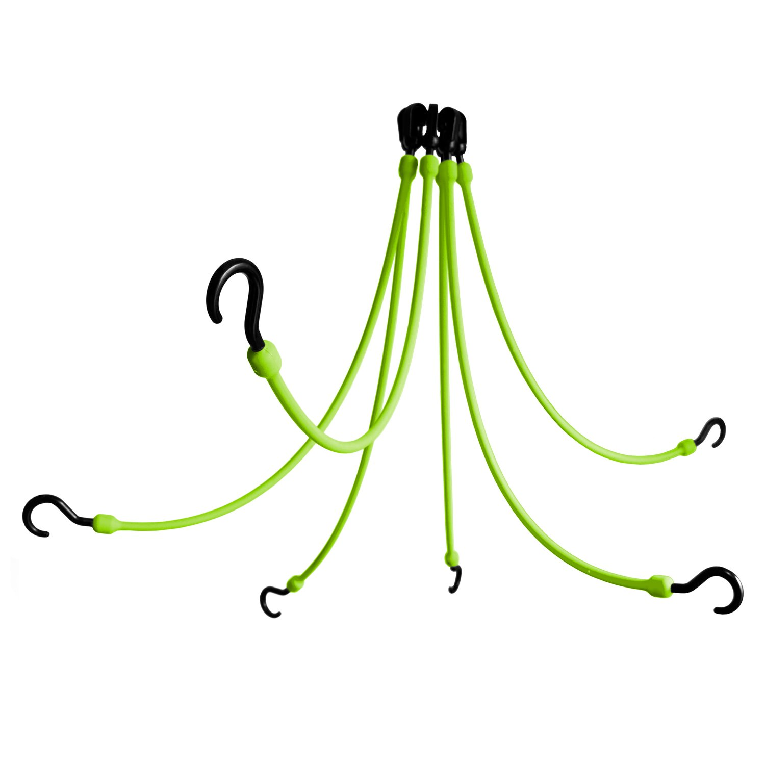 The Perfect Bungee by BihlerFlex FW24-6G 6-Arm Flex-Web Bungee Cords 6, 24''-48'', Safety Green