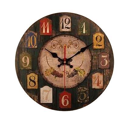 Vintage Round Wooden Wall Clock Flower Design Roses Home Kitchen Bar Decor Gift