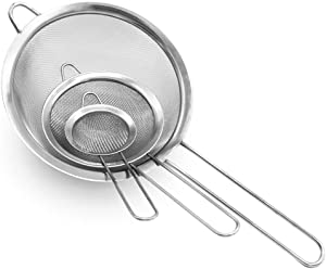 Set of 3 Fine Mesh Strainer,Stainless Steel Fine Sieve with Long Handle,Premium Strainers(2.6