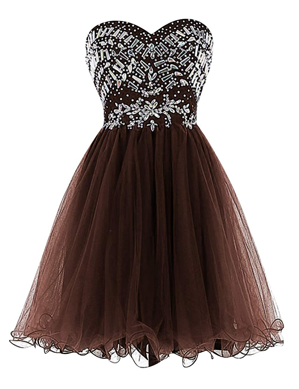 Chocolate Uther Sweetheart Cocktail Dresses Tulle Beading Knee Length Homecoming Prom Dress