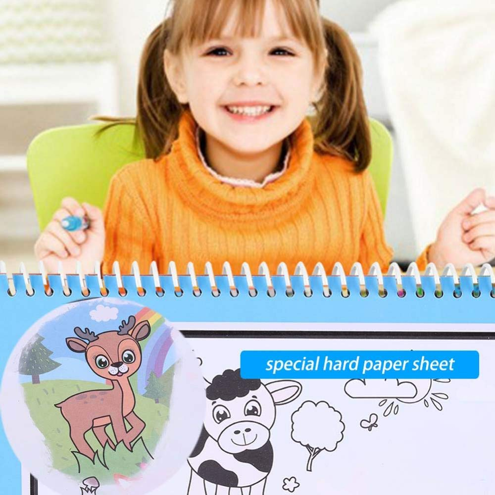 libro da colorare magico portatile dellacqua con il libro di disegno dellacqua della penna magica per il regalo del giocattolo dei bambini dei pi/ù piccoli fattoria Libro da disegno ad acqua