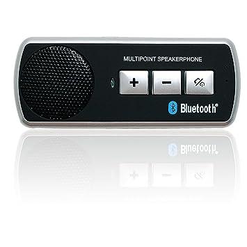 HENGDA® Coche Bluetooth Manos libres, Auto Micrófono Kit para parasol, apagado automático,