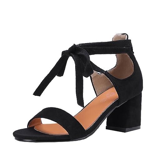 Offene Aiyoumei Sandaletten Sandalen Schnüren Zum Damen Blockabsatz fv76gbYy