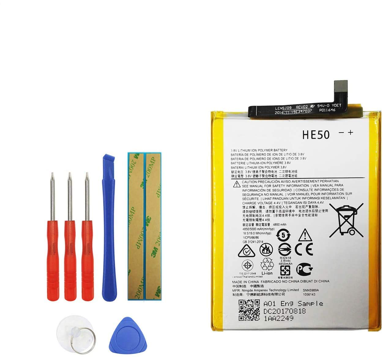 Vvsialeek HE50 Replacement Battery Compatible with Motorola Moto E4 Plus XT1770 XT1775 XT1774 XT1771 SNN5989A SNN5990A with Toolkit