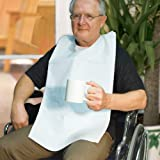 BAS Disposable Adult Bibs - Protects The Chest And Lap From Spills And Stains - 1 Ply Tissue / Poly - Waterproof Back Keeps Clothes Dry - Ties in Back (100)