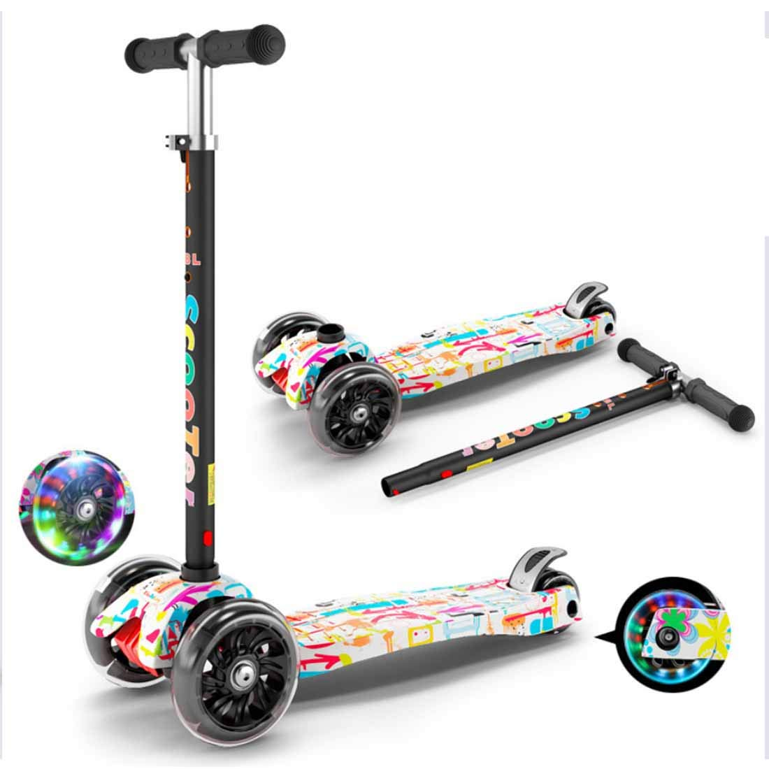 MYMGG Pedal Scooter Teens 3-Wheeled Scooter Detachable Kick Scooter Durable Push Scooter Suitable for Age 3 Up Kids,White