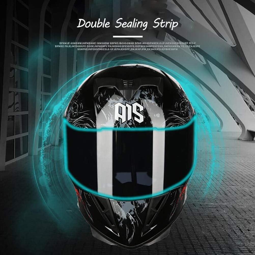 MTTKTTBD Bluetooth Full Face Motorcycle Helmet,Lightweight DOT Approved Anti-Fog Double Visor Motorbike Locomotive Helmet Mofa Crash Moped Bobber Chopper Cruiser Racing Cap
