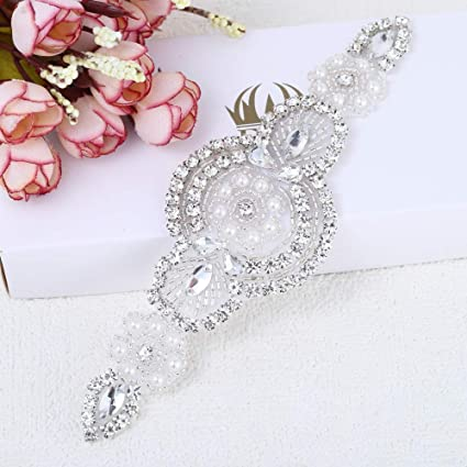 Image Unavailable. Image not available for. Color  Iron on Sewing Small Rhinestone  Applique Beaded Applique for Wedding Dress Accessories Bridal Sash Garter  ... d03df6b600a9