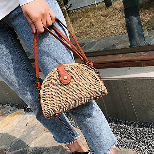 Bag Shape Travel Beach Shell Shoulder Straw Crossbody Holiday Handbags for Weave Summer Shoulder Messenger wSXqnt6x