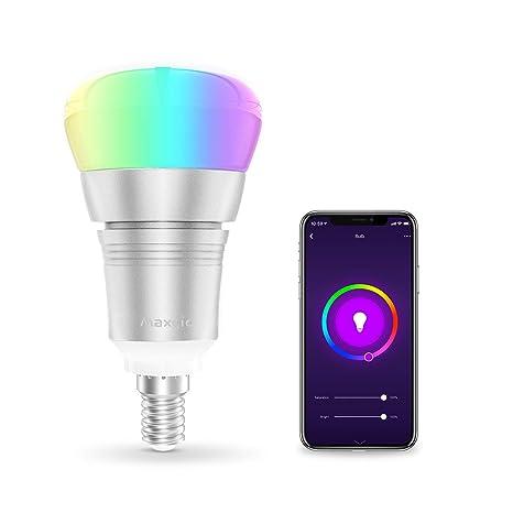 Bombilla Wifi, Maxcio Bombilla Inteligente LED Inalámbrico de Multicolores con Intensidad Regulable, 8 Modos