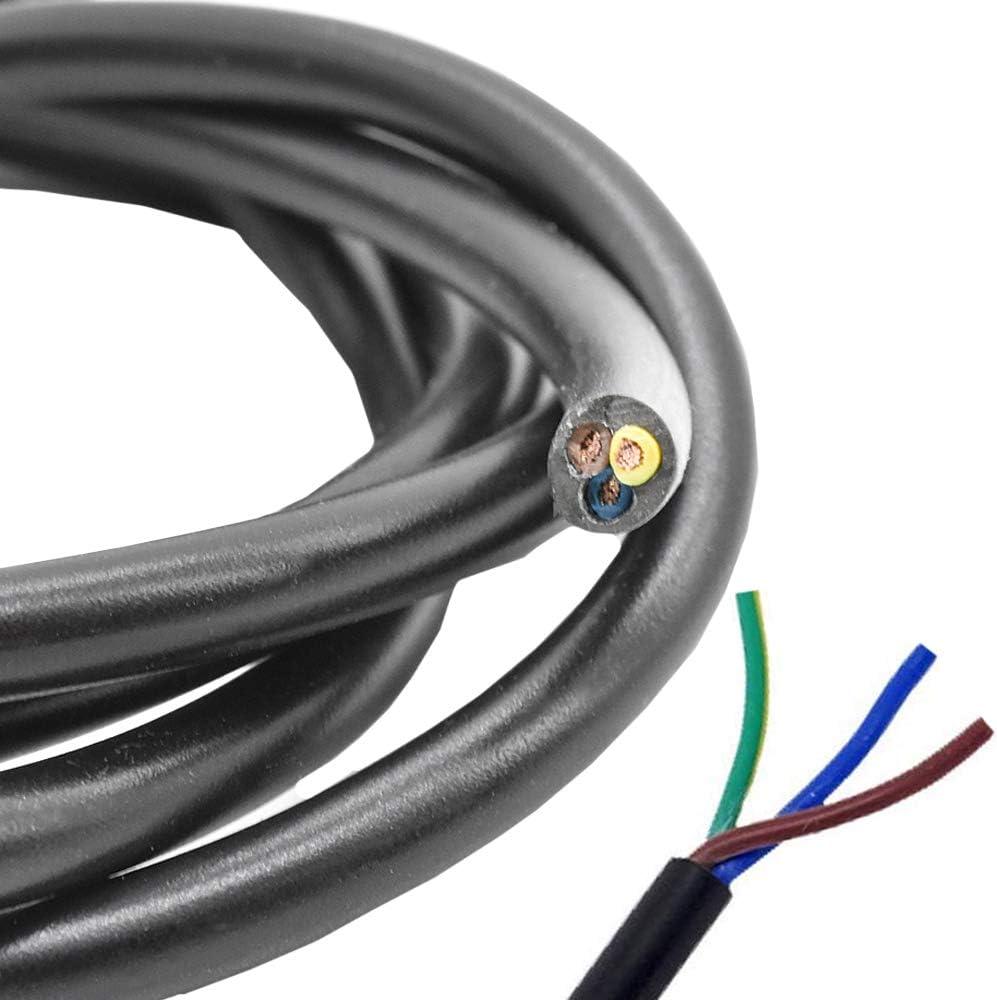 Cable de alimentaci/ón negro H03VV-F de 5 m cable de l/ámpara 3 x 0,75 mm/² cable luminoso cable aislado de PVC 3G cable de conexi/ón