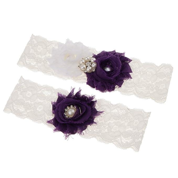 separation shoes 1d8ad 45784 Homyl Lila/Weiß Blumen Hochzeitstrumpfband Strumpfband ...