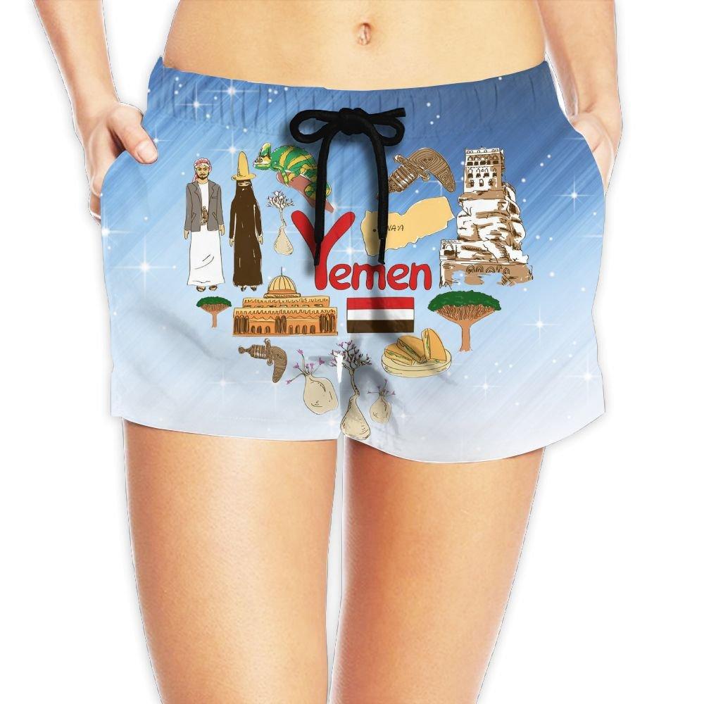 Travel to Yemen Women Fashion Sexy Quick Dry Lightweight Hot Pants Waist Beach Shorts Swimming Trunks