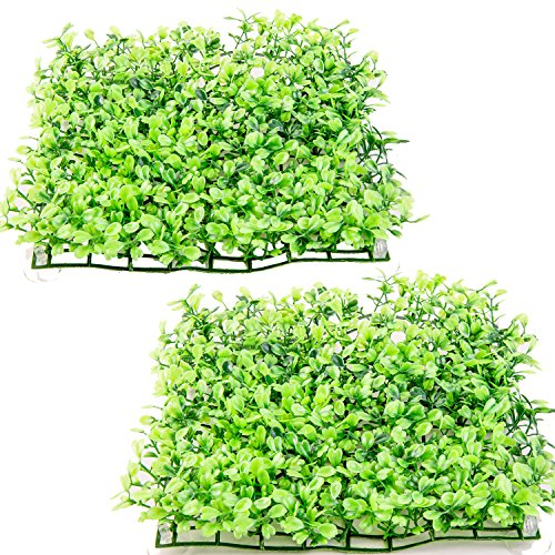 SLSON 2 Pack Aquarium Decorations Grass Artificial Plastic Lawn 9 inch Square Landscape Green Plants for Saltwater Freshwater Tropical Fish Tank Decoration,with 16 Pcs Suction Cups