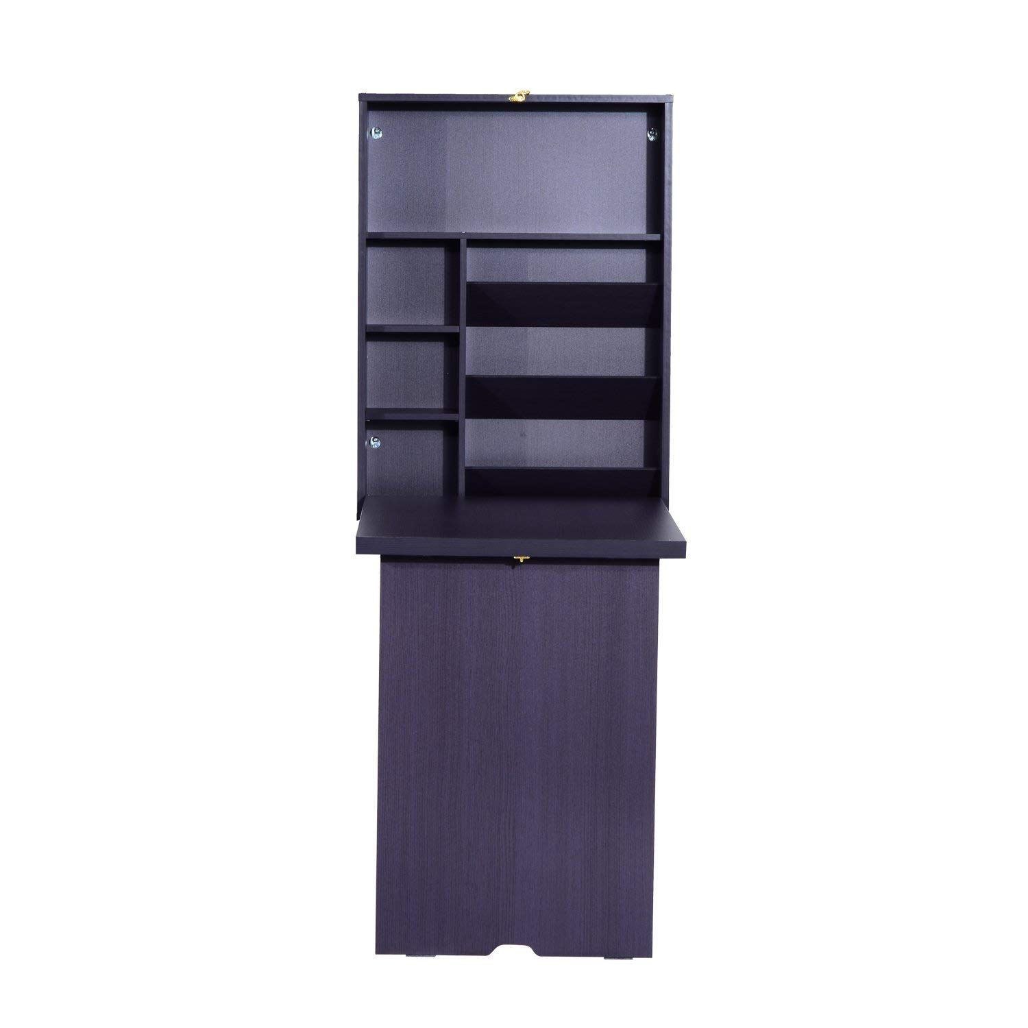 HomCom Compact Fold Out Wall Mounted Convertible Desk With Storage - Eggplant