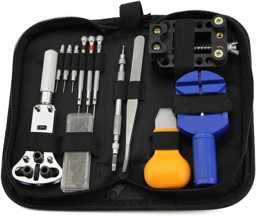 Kit de herramientas portátil para reparación de relojes (13 piezas), abridor de caja, extractor de eslabones, destornillador antimagnético, con funda de transporte: Amazon.es: Bricolaje y herramientas