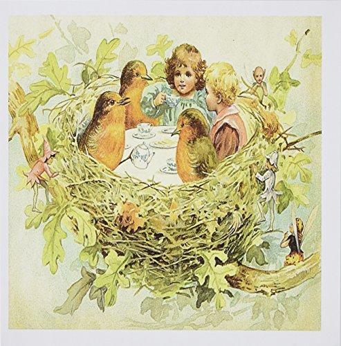 3d Rose 3dRose Image of Vintage Tea Party In birds Nest W...