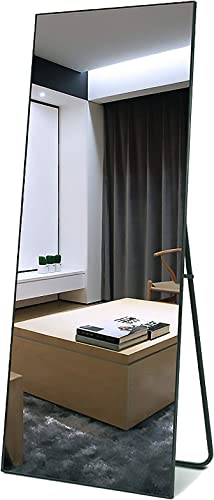 Niccy Full Length Mirror,Full Length Standing Mirror Aluminum Alloy Floor Mirror Easy-to-Install Hanging Wall Body Mirror 65×22