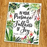 Psalm 16:11 In your presence is fullness of joy Print (Unframed), Inspirational, Motivational, Watercolor, Scripture Print, Bible Verse Print, Christian Wall Art, 8×10″, TC-036