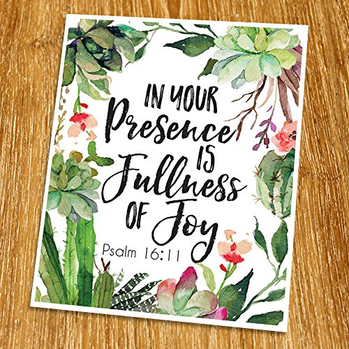 Psalm 16:11 In your presence is fullness of joy Print (Unframed), Inspirational, Motivational, Watercolor, Scripture Print, Bible Verse Print, Christian Wall Art, 8x10