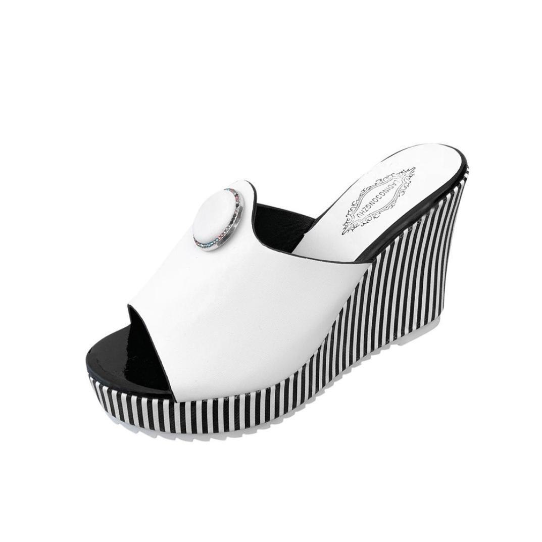 Sunbona Women Summer Slippers Peep Toe High Thick-Bottom Stripe Waterproof Platform Wedge Sandals (US:7(RU/EU/CN38), White)