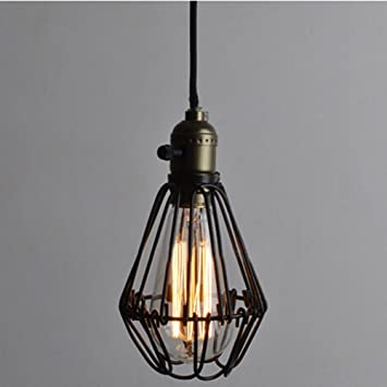 Vintage Pendant Light Chandelier Wire Cage Hanging Lampshade Retro