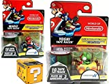 Mariokart Video Game Car Mario with Mushroom Tape Racer & World of Nintendo Yoshi Alpine Pass Tape Racer Character + Blind Box Mystery Micro Figure wave 2 fun set