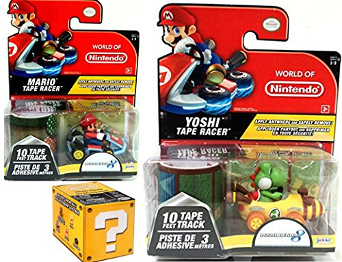 Mariokart Video Game Car Mario with Mushroom Tape Racer & World of Nintendo Yoshi Alpine Pass Tape Racer Character + Blind Box Mystery Micro Figure wave 2 fun Bundle Set