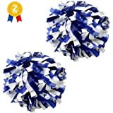 "PEACKLLY 6"" Plastic Cheerleader Cheerleading Pom Poms,1 Pair 2 Pieces (Royal Blue/White)"