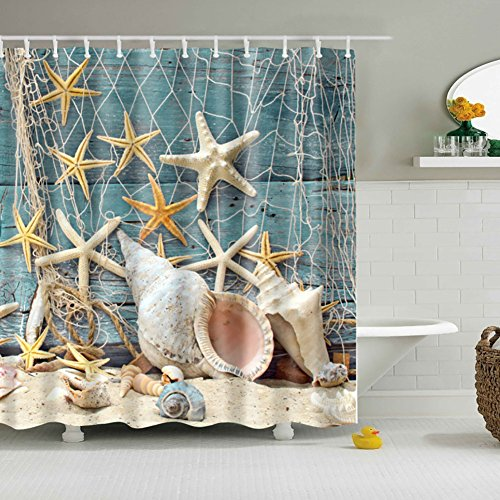 Infinal Waterproof Bath Curtains Beach Shells Bathroom Shower Curtain 150180CM With 12 Hooks