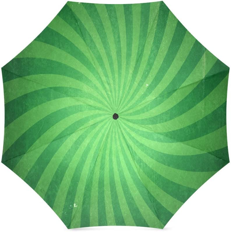 Custom Green sunburst or starburst spiral Compact Travel Windproof Rainproof Foldable Umbrella