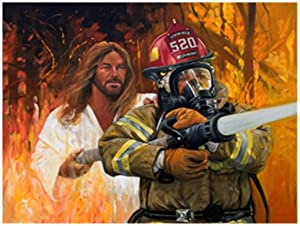 DIY Diamond Painting Kit,Diamond Painting Full Round Drill Embroidery Paintings Pictures for Home Wall Decor Firefighter 15.7x11.8Inches