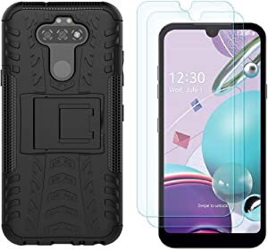 LG Aristo 5 Case, LG Phoenix 5, LG K8X, LG Tribute Monarch, LG Fortune 3, LG Risio 4 Cases with HD Screen Protector, Yiakeng Shockproof Protective with Kickstand for LG K31 (Black)