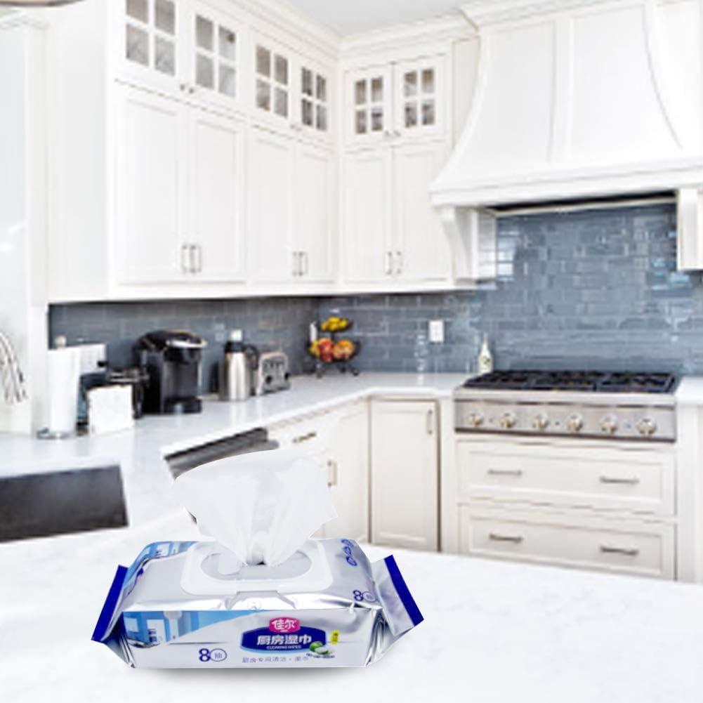 Gorgeri 5Packs Lingettes humides de cuisine Lingettes humides jetables Papier humide Nettoyage des salet/és graisseuses D/égraissage pour tablettes Bureaux d/école Claviers de cuisine 80 Feuilles//Paquet