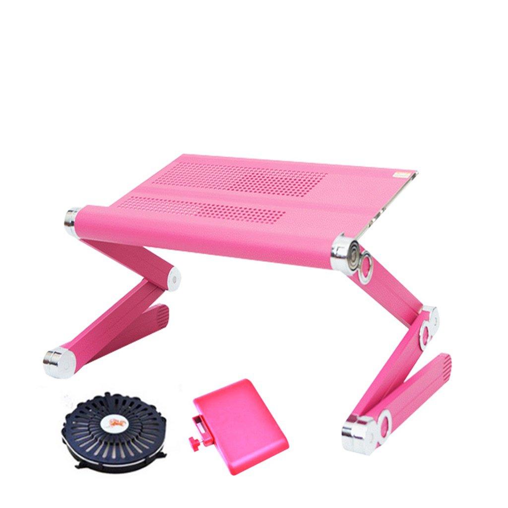シンプルでモダンな折り畳みテーブルポータブルノートパソコンテーブルベッドコンピュータデスクレイジーコンピュータデスクアルミ合金ベッドスタディテーブル (色 : Pink)  Pink B07KTTYM94