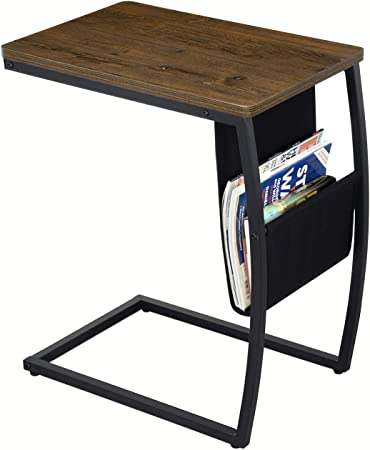 Side Table Sofa End Tables Living Room Vintage Accent C Table With Side Pocket For Coffee Laptop