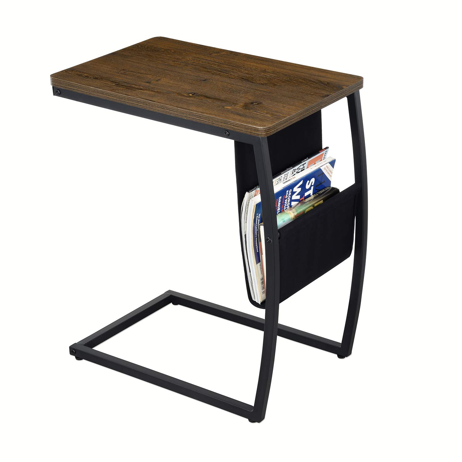 RooLee Sofa Side End Table, Vintage Couch Desk C Shaped Table with Storage Bag, Living Room Accent Tables for Coffee Snack Laptop