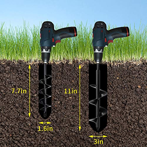 """Azdele Upgraded Auger Drill Bits 1.6""""x8.7"""" and 3""""x12"""", Garden Drill Bit, Garden Plant Auger Post Hole Digger for 3/8"""" Hex Drive Drill, Garden Drill Planter, Easily Dig Most Types of Soil"""